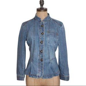 Ann Taylor Loft military style peplum jean jacket